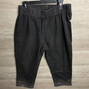 Soft Surroundings PS Black Rhinestone Capri Pants
